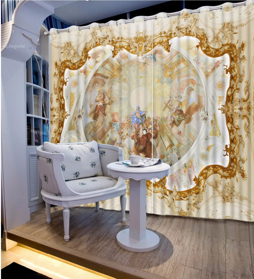 European People 3D Curtain For Living Room Bedroom Luxury Kitchen Curtains Blackout Polyester Cotton