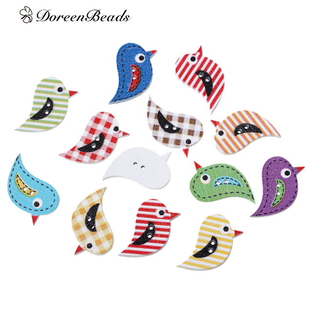 DoreenBeads Wood Sewing Button Scrapbooking Bird Mixed At Random 2 Holes For Clothing DIY Crafts 27mm x 17mm, 10 PCs 2017 new