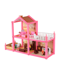 Children miniaturas doll house toys plastic DIY Assemble villa with bedroom furniture girls toys gift