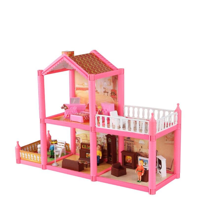 Enfants miniaturas maison de poupée jouets en plastique bricolage assembler villa avec des meubles de chambre filles jouets cadeau