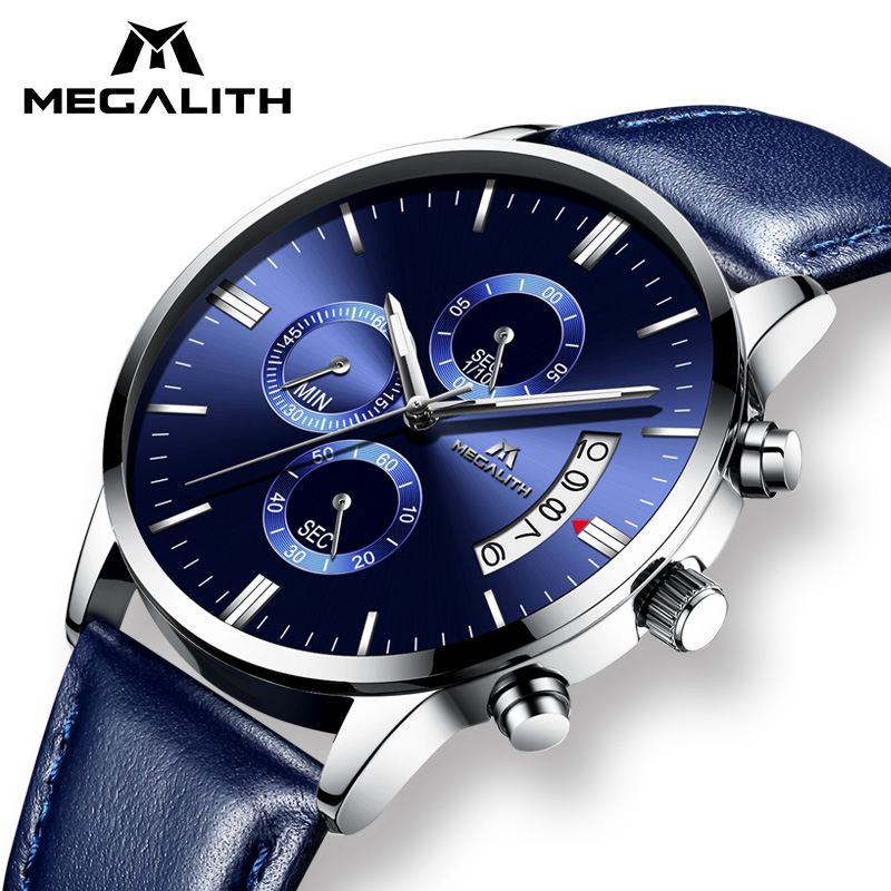MEGALITH Watches Men Luxury Waterproof Chronograph Date Calendar Wristwatch Business Quartz Watch Man Clock Relogio Masculino megalith quartz watches mens waterproof chronograph calendar silver stainless steel wrist watch gents sport business men s watch