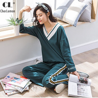 CherLemon High Quality 2 Pcs Women S Spring Cotton Loose Homewear Fashion V Neck Reglan Sleeve