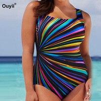 Плюс размер женский купальник в полоску с принтом купальный костюм большой размер Цельный купальник XXXXL Монокини, женский купальный костюм ...