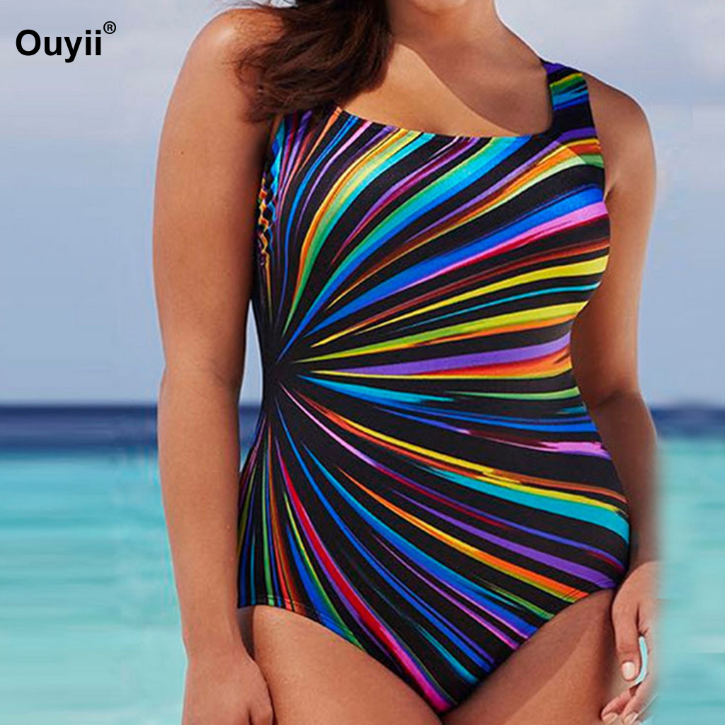 Plus Size Swimwear Women Striped Print Bathing Suit Large Size One Piece Swimsuit XXXXL Monokini Maillot