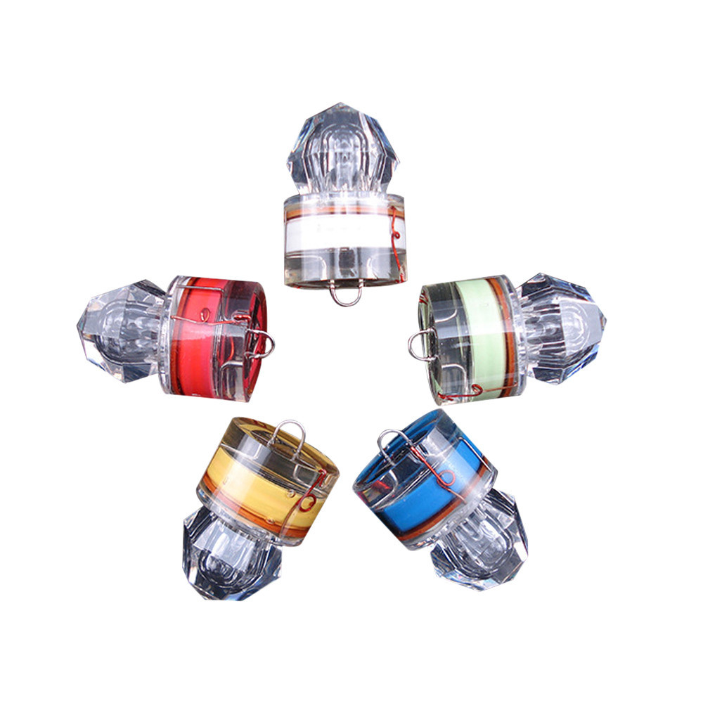 New 5Pcs Small Bright LED Deep Drop Underwater Water Activated Diamond Flash Fishing Light Squid Strobe Bait Lure Solid Durable