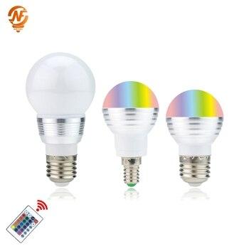 LED RGB Bulb Lamp E27 E14 3W 5W AC110V 220V LED RGB Spot light 85-265V Magic RGB Lighting+IR Remote Control 16 Colors new rgb led lamp 3w 5w 7w e27 rgb led light bulb 110v 220v smd5050 multiple color remote control rgb lampada led a65 a70 a80