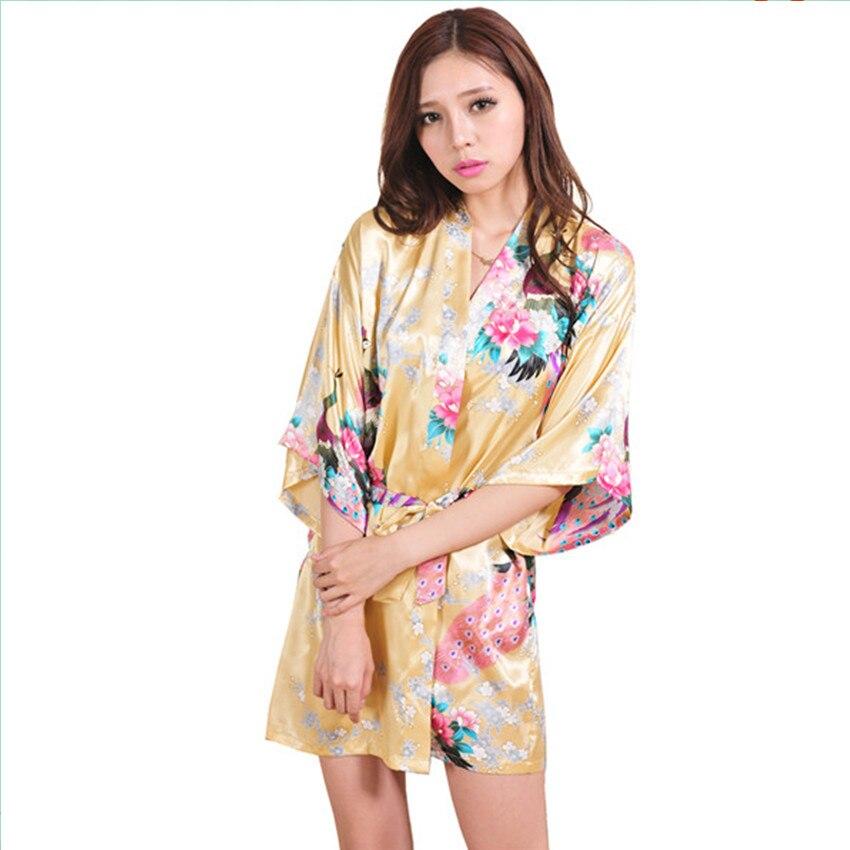 5b172f8493 New Arrival Gold Chinese Women Silk Rayon Mini Robe Sexy Kimono Bath Gown  Charming Intimate Lingerie Pajama S M L XL XXL XXXL