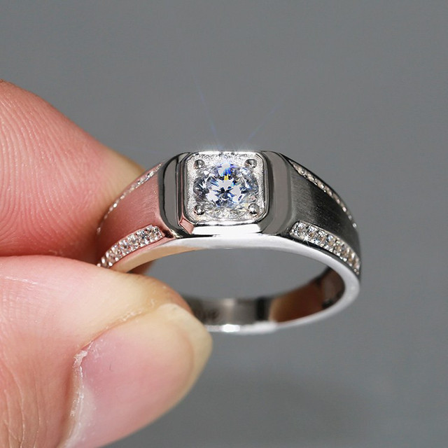 Sterling Silver 925 Fire Aaa Imitated Diamond Ring Men Simple Brief