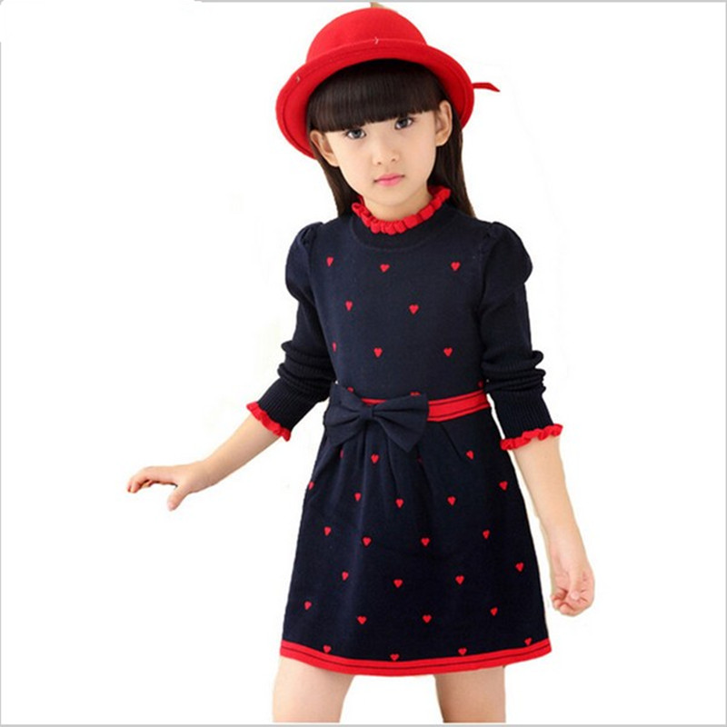 2016 New Kids Sweater Dress Spring Autumn Winter Girls Long Warm Fashion Princess Dress Bow Toddler Girl Clothes 4-10T  fashion 2017 spring autumn new girls cotton knitting dress hat 2 piece thickening baby girl princess dress winter kids clothes