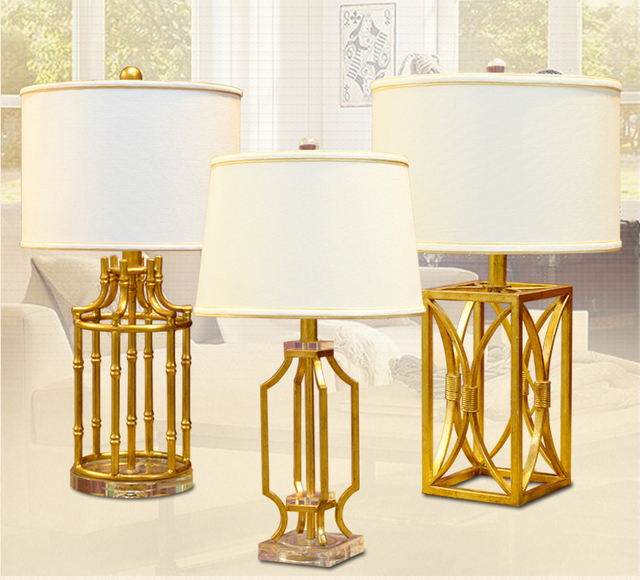 Brand-new Luxury Retro Gold Silver Metal Table Lamp Luxury Bedroom Bedside  WQ61