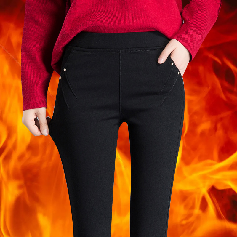 Winter Fitness Warm Denim Leggings Frauen Dünne Stretch hohe taille Verdicken Bleistift Hosen beiläufige elastische taille fleece gefüttert hosen