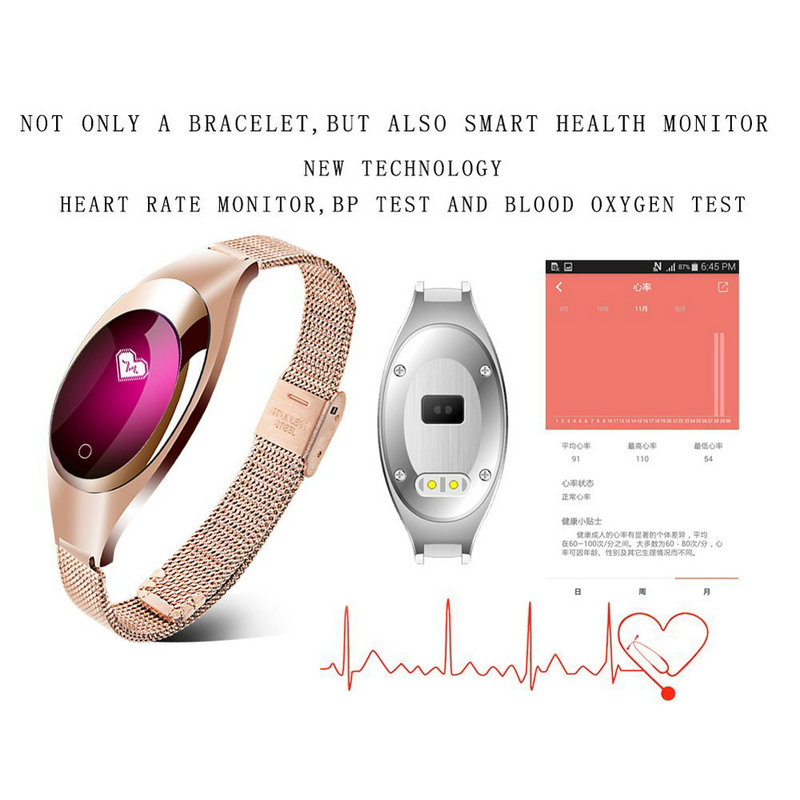 Z18 Red White Black Women Sport Bluetooth Smart Bracelet Fitness Pulsometer Heart Rate Monitor Smartband On Wrist ZIMINGU 17 15
