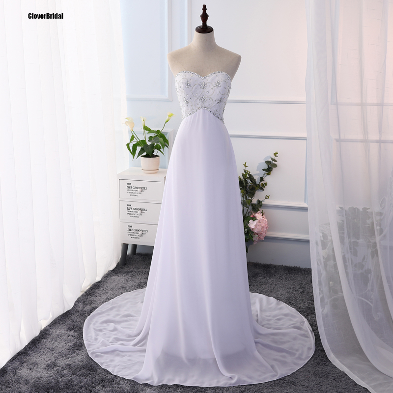 c76f8132a3f7 Hot Sales Sweetheart Beaded Empire Lace-up White Simple Chiffon Garden  Outdoor Beach Wedding Dress