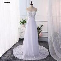 Venda quente Sweetheart Frisada Império Lace-up Simples Branco Chiffon Praia Vestido de Casamento Do Jardim Ao Ar Livre Barato