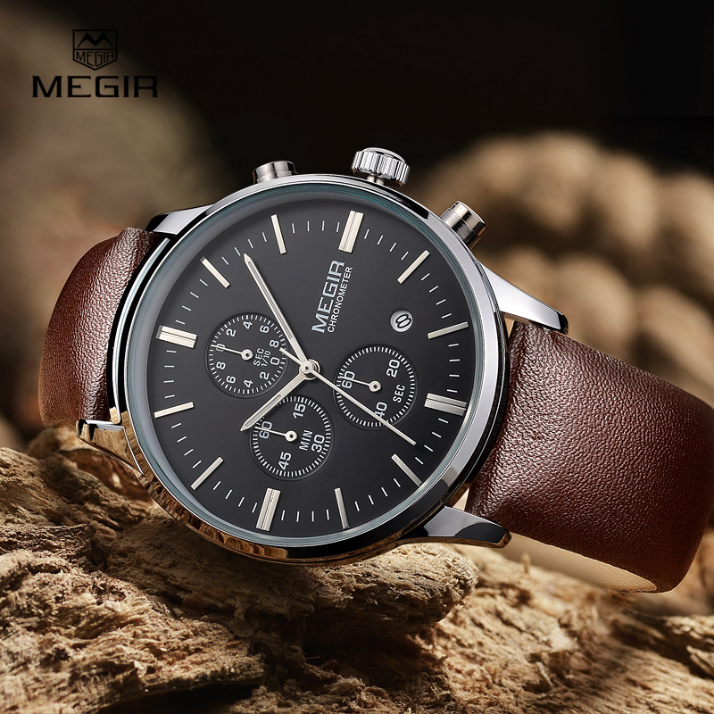 MEGIR hot fashion leather quartz watch man luminous chronograph wristwatch male casual analog watches men calendar hour clock megir 2017 fashion creative sport waterproof quartz watch men casual leather brand wristwatch luminous stop wristwatch for male