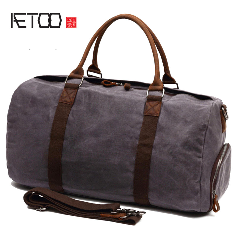 AETOO Large-capacity portable travel bag Europe and the United States retro oil wax oblique luggage bag with crazy horse leather aetoo europe and the united states fashionable women s bag new leather ladies handbag large capacity diagonal shoulder bag