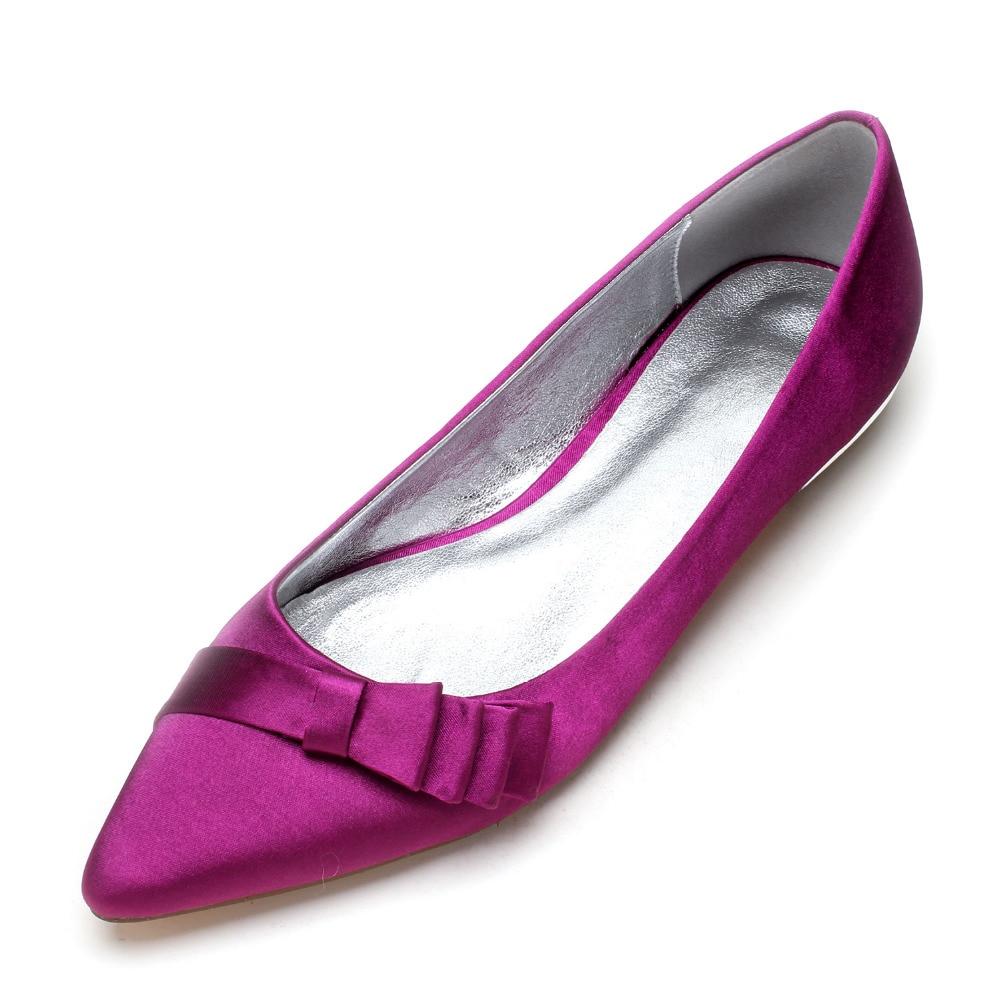 Creativesugar pointed toe lady satin evening dress flat shoes low heel 3  layers bow elegant bridal 82f0f9ce70de