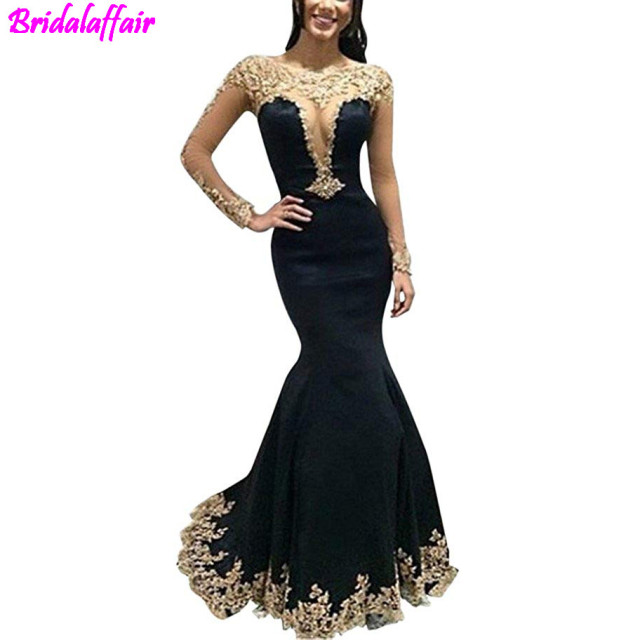 98b281bb56bb Womens Gold Lace Appliques Illusion Mermaid Prom Dresses Long Sleeve Sexy  Formal Evening Gown mermaid dress special occasion