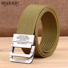 Best YBt Nylon Canvas Belt men Army Tactical Belts Selling man Outdoor sport double buckle weave Nylon Canvas cowboy pants Belt