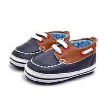 PU Leather Baby Boys Lace Up Crib Shoes Mixed Colors Anti-Slip First Walkers 0-18M