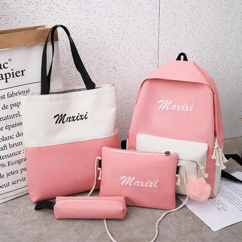 4 pçs/set mulheres mochilas escolares de náilon mochila para adolescentes meninas estudante saco de livro meninos mochila bolsas sac a dos