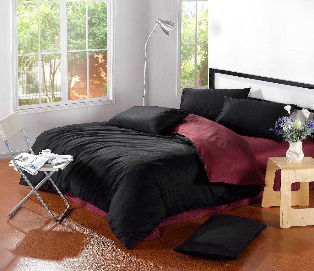 Black and red bed sheets - Classic Pure Color Plain Mixed Colors 100 Cotton 4pcs Bedding Set Duvet Cover Bedding