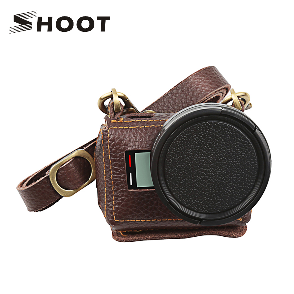 SHOOT Protective Leather Holster Case With 52mm UV Filter Lens Cover for GoPro Hero6 5 Action Cam For Go Pro Hero 6 5 Accessory