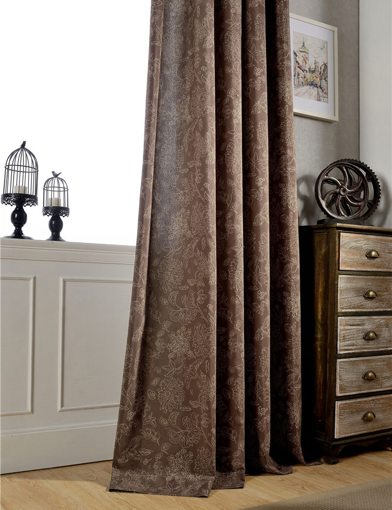 Vintage Style Curtains Flower Pattern Semi Light Shading Window Treatments Dark Brown Curtains