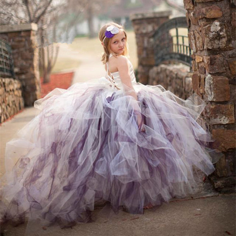 1-14Y Fluffy Flower Girl Tulle Tutu Dress Kids Baby Girls Long Trailing Gown Dress For Festival Wedding Party Formal Dresses
