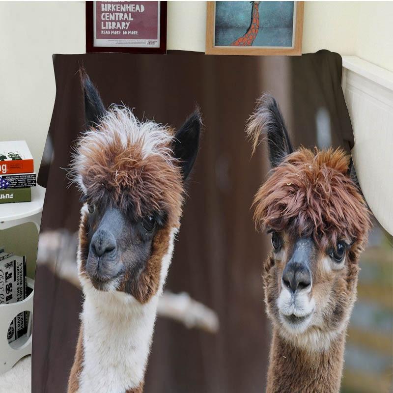 Super Soft Blankets Comfort Plush Machine Wash Cute Funny Alpaca Brown White Animals Sofa Bed Throw Cobertor Kids Adults Blanket