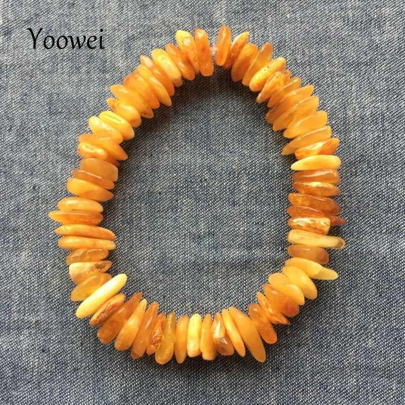 Yoowei Natural Baltic Amber Bracelet Irregular Beads Original Amber Jewelry Precious Elastic Stretch Bracelets Female pulseras pure handmade string beads beads bracelets tassels roasted blue flower accessories amber beaded bracelet factory wholesale