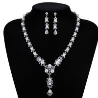 Classic CZ Cubic Zirconia Pearls Bridal Wedding Necklace Earring Set Jewelry Sets for Women Prom Jewelry Accessories CN10239