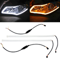 2pcs 60cm 2 Color LED DRL DIY flexible daytime running light soft article lamp tube car styling strip automobiles waterproof