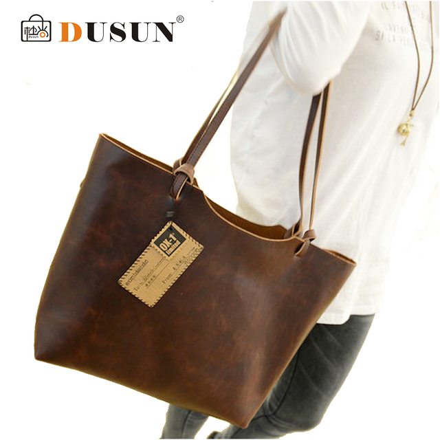 Casual High quality leather bags new 2016 design women handbags vintage women shoulder bags large tote brown women bags hot
