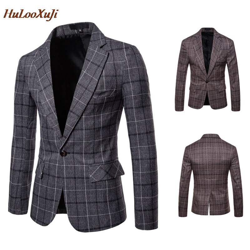 HuLooXuJi Blazers Mens Suits Slim Fit Plaid Suits Single-breasted Business Casual Autumn Suits US Size:XS-2XL