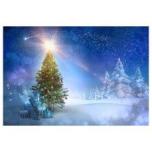 7x5ft голубое небо Рождество Фон фотографии снег Рождество Дерево блеск звезда снежинка лес зимний Задний план падение назад