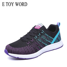 купить E TOY WORD Women Shoes Fashion Breathable Knitted Shoes Autumn Ladies trainer Flat Shoes Casual Lace-up Sneakers Tenis Feminino дешево
