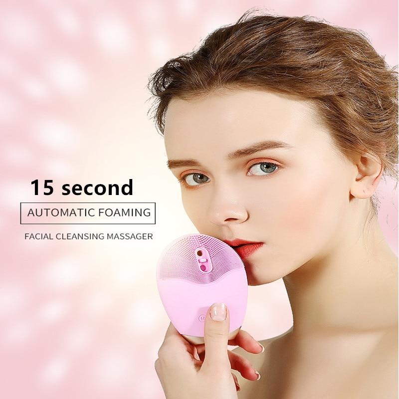 USB Charge électrique lavage visage nettoyant ultrasons Vibration automatique moussant imperméable FDA Gel de silice masseur de visage T0177SPE