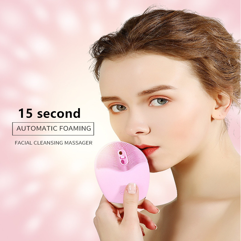 USB Charge Electric Wash Face Cleanser Ultrasonic Vibration Automatic Foaming Waterproof FDA Silica Gel Face Massager T0177SPE