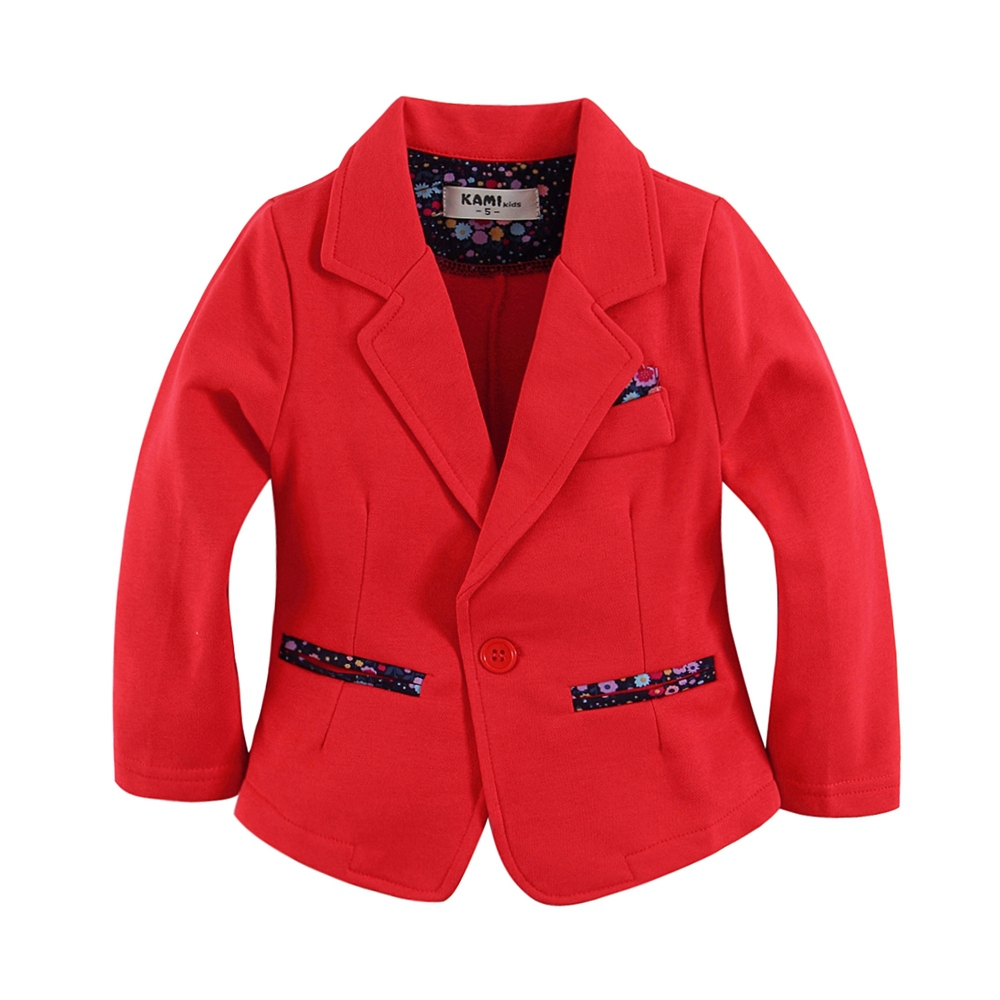 yeni gəliş trikotaj pambıq 100% toddler girl blazer bərk qırmızı