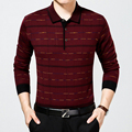 Classic Mens Polo Shirt Fashion Striped Long Sleeve Wool Blends Knitted Pullover Male Slim Fit business men clothing Polo Shirts