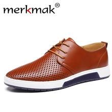 Merkmak Agujeros de Verano Zapatos Transpirables de Ocio Los Hombres de Cuero Genuino Tamaño Grande 37-48 de Los Hombres de Negocios Pisos Sapatos Masculinos
