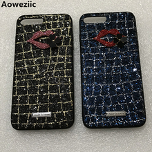Aoweziic luxury 3D colourful thread Bling Glitter sequins grid diamond bling Phone Case For iphone8 6s 7 X PLUS cover lips DIY