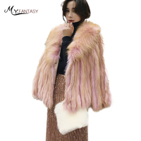 M.Y.FANSTY 2019 Winter Imports Natural Real Fur Coat Women Long Sleeve Causal Short Weaving Turn Down Collar Fox Fur Coats