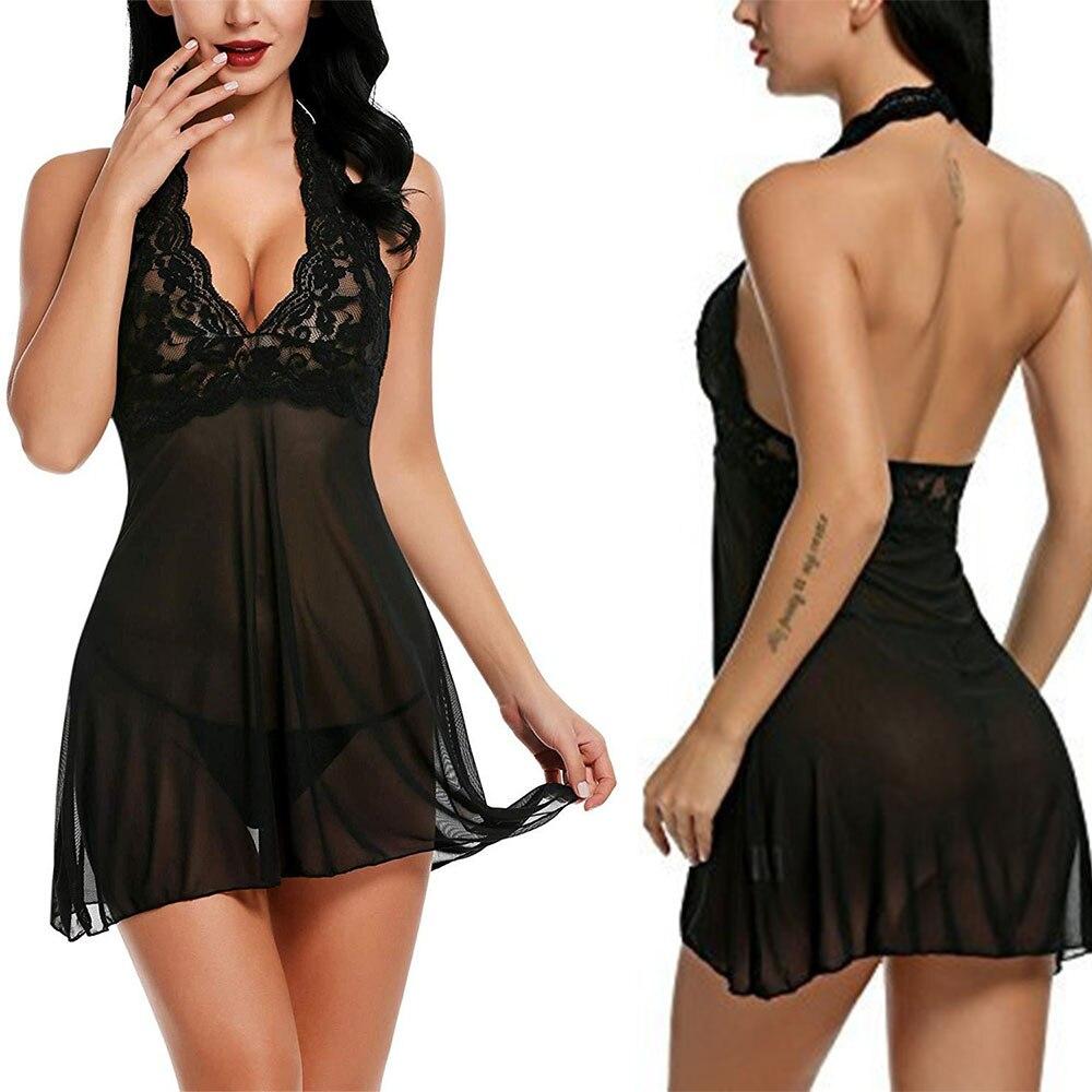 Lenceria Mujer Porno Sexy Sleepwear Nightgown Women Lingerie Halter EroticLace Babydoll V Neck Lenceria Femenina DJ011