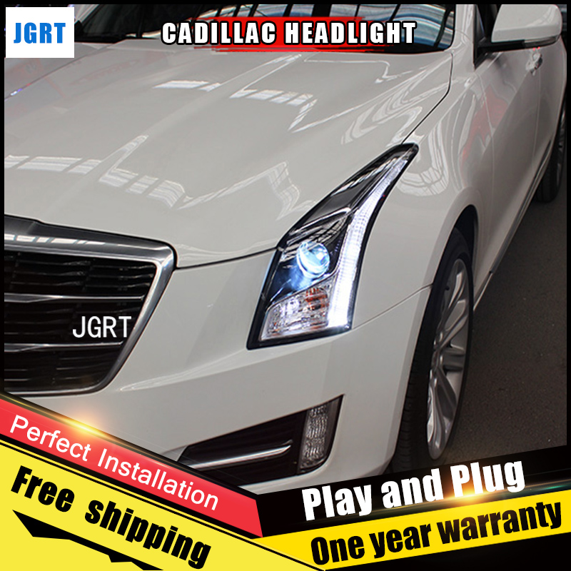 2PCS Car Style LED headlights for Cadillac ATS 2014-2016 for ATS head lamp LED DRL Lens Double Beam H7 HID Xenon bi xenon lens car styling led head lamp for opel mokka headlights 2013 2014 mokka led headlight led drl h7 hid bi xenon lens low beam