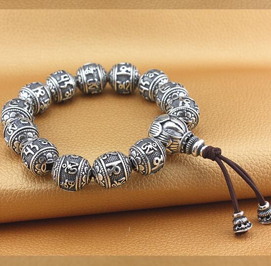 Handmade 100% 925 Silver Tibetan Six Words Proverb Beads Bracelet Pure Silver Mala Bracelet Buddhist Words Good Luck Bracelet six words true words buckle chain 100