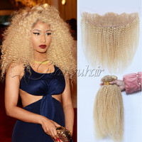 Guanyuhair предварительно сорвал 613 блондинка бразильский странный вьющихся волос 3 Связки с 13X4 кружева фронтальной 100% Remy человеческих волос