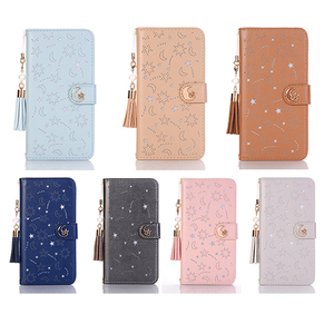 Image 2 - Luxury Hollow Leather Flip Case for Iphone X 8 7 6 6S Plus Xs Max Xr Cute Star Month Magnetic Wallet 360 Book Cover Tassel Pearl