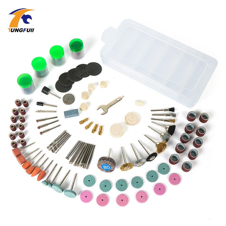 Tungfull embout de 161 PCS Outil Rotatif Bits Set Outil Rotatif Accessoires pour Broyage De Coupe De Polissage Abrasifs Outils Kits